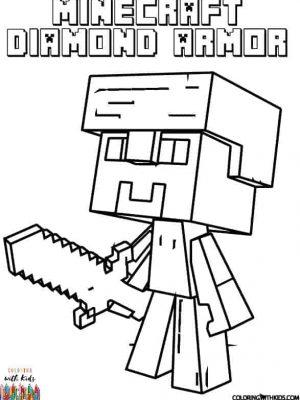 Minecraft Steve Diamond Armor Coloring Page