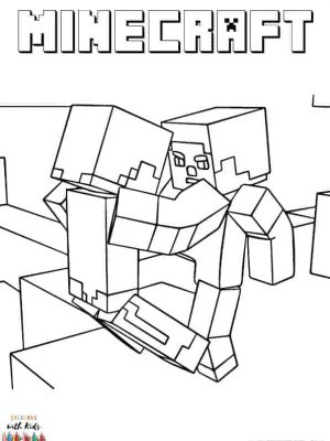 Minecraft Fight Scene Coloring Page