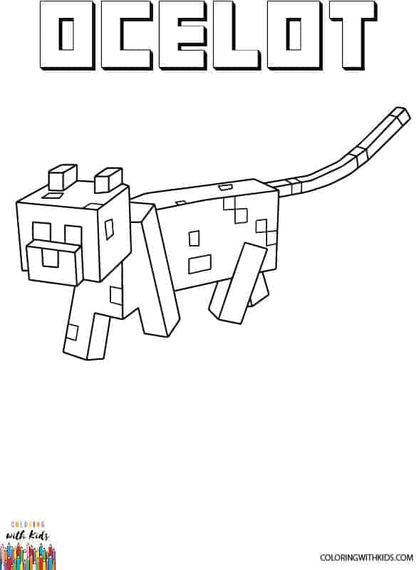 Free printable minecraft ocelot coloring pages