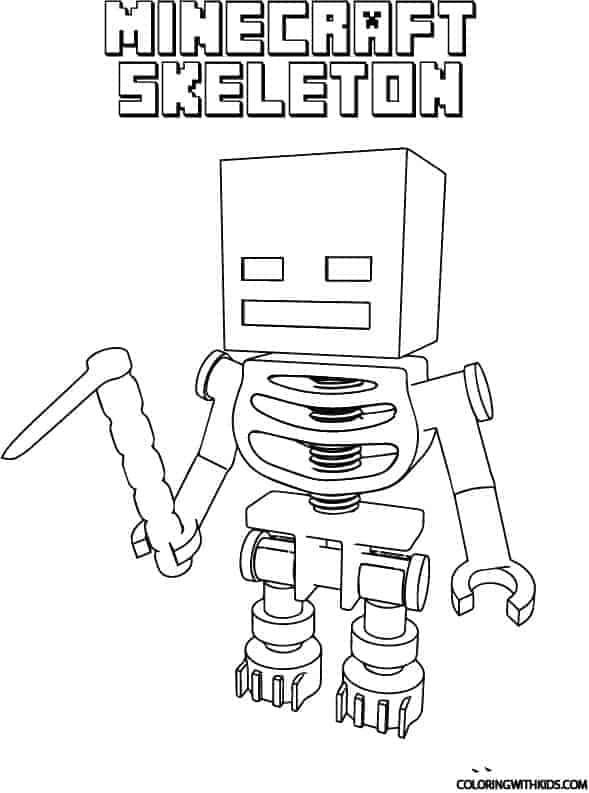 Free printable minecraft skeleton coloring page