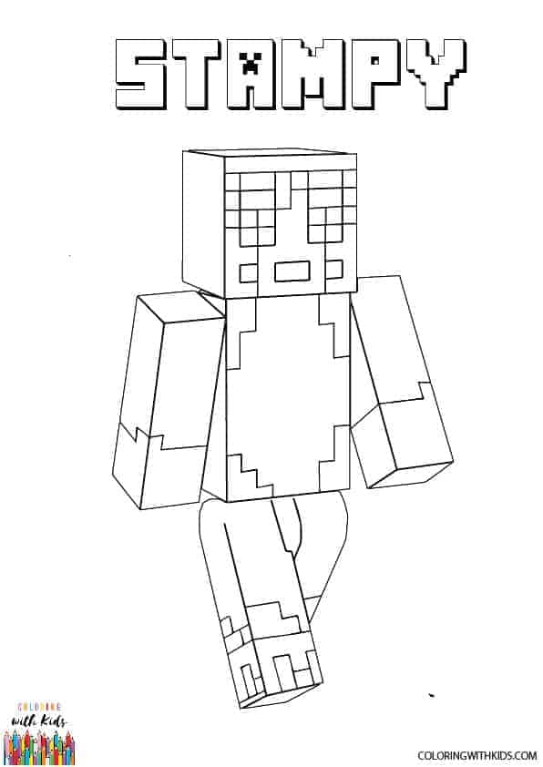 Free Printable Minecraft Stampy Coloring Page