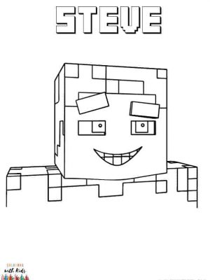 Minecraft Smiling Steve Coloring Page