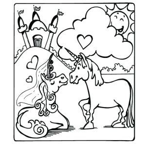 Rainbow Unicorn Bust Coloring Pages Coloringwithkids Com