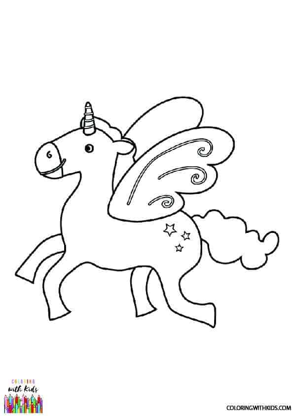 Winged Unicorn Coloring Page | coloringwithkids.com