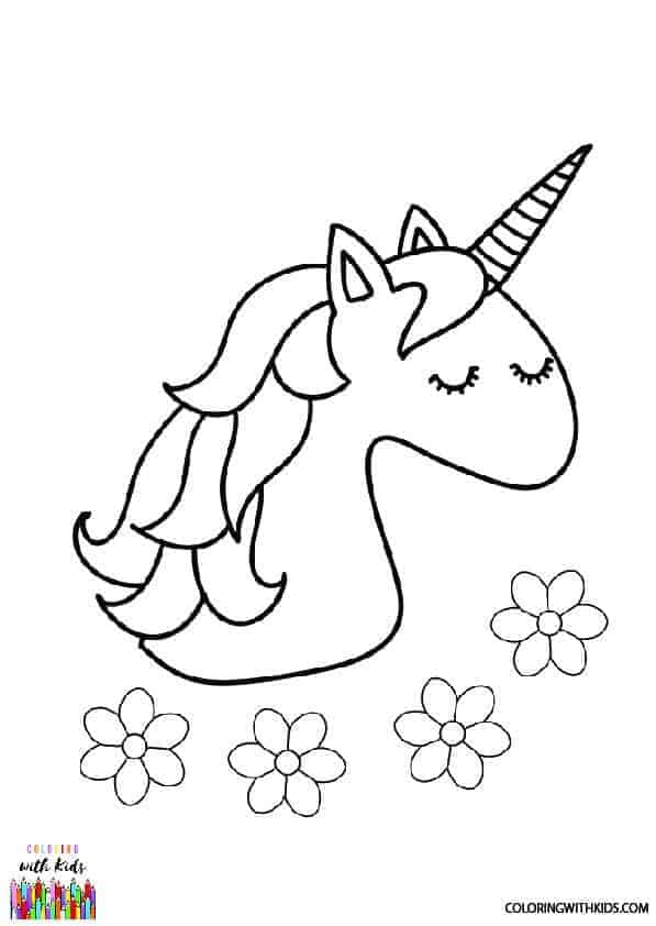 Unicorn Head Coloring Page | coloringwithkids.com