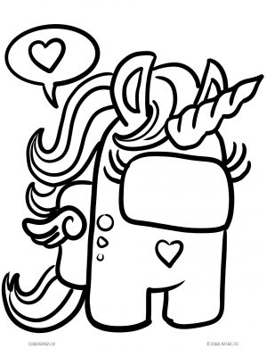 Among Us Unicorn Coloring Page