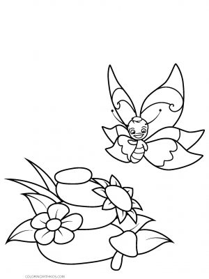 Cartoon Butterfly with Flower Coloring Page