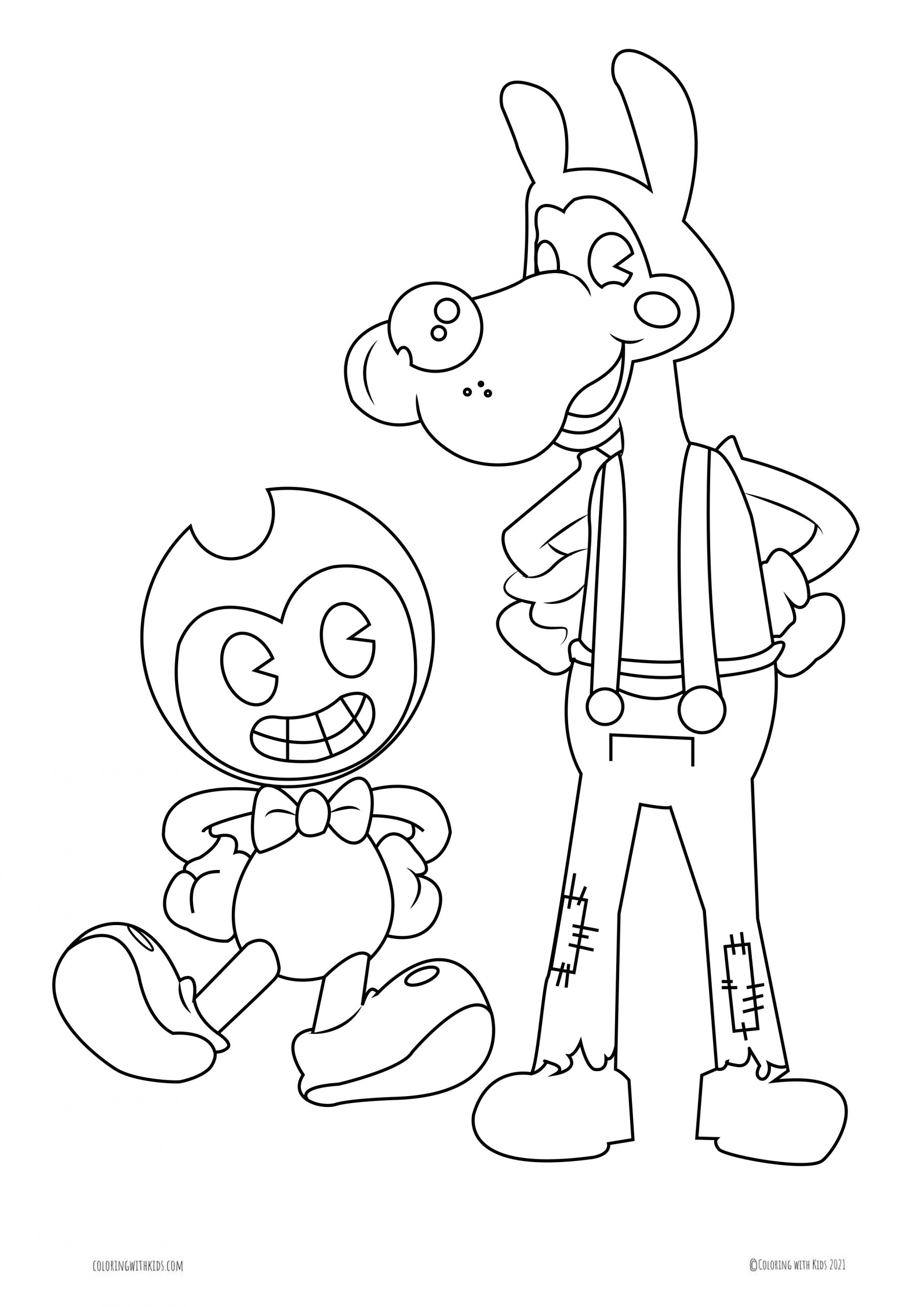 Coloring Page Of Boris The Wolf And Bendy   Coloring with Kids