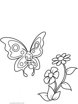 Cute Butterfly with Flower Coloring Page
