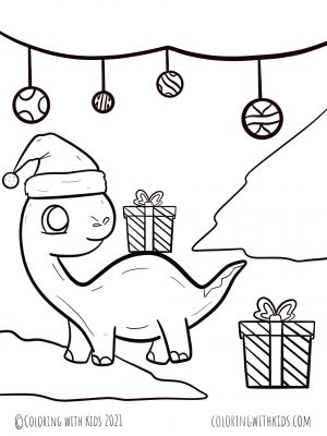 Dinosaur Coloring Pages Christmas