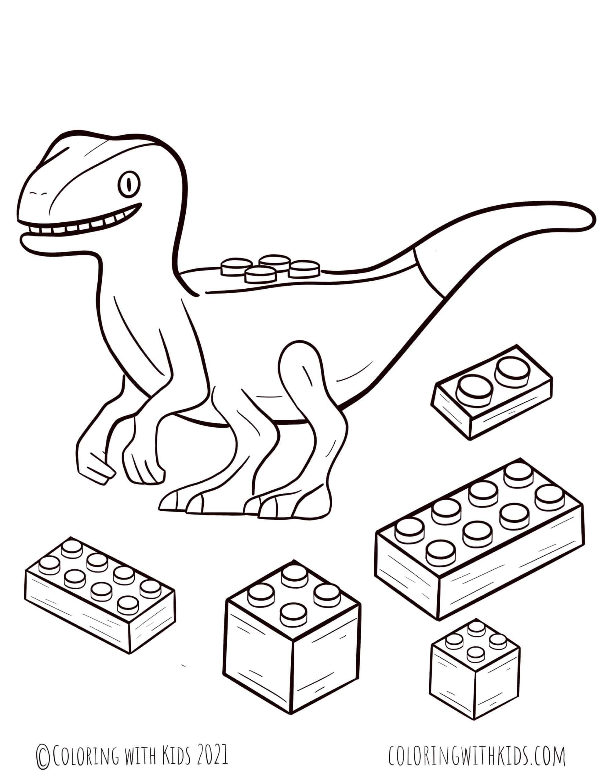 Dinosaur Lego Coloring Page