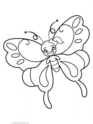 Girl Cartoon Butterfly Coloring Page