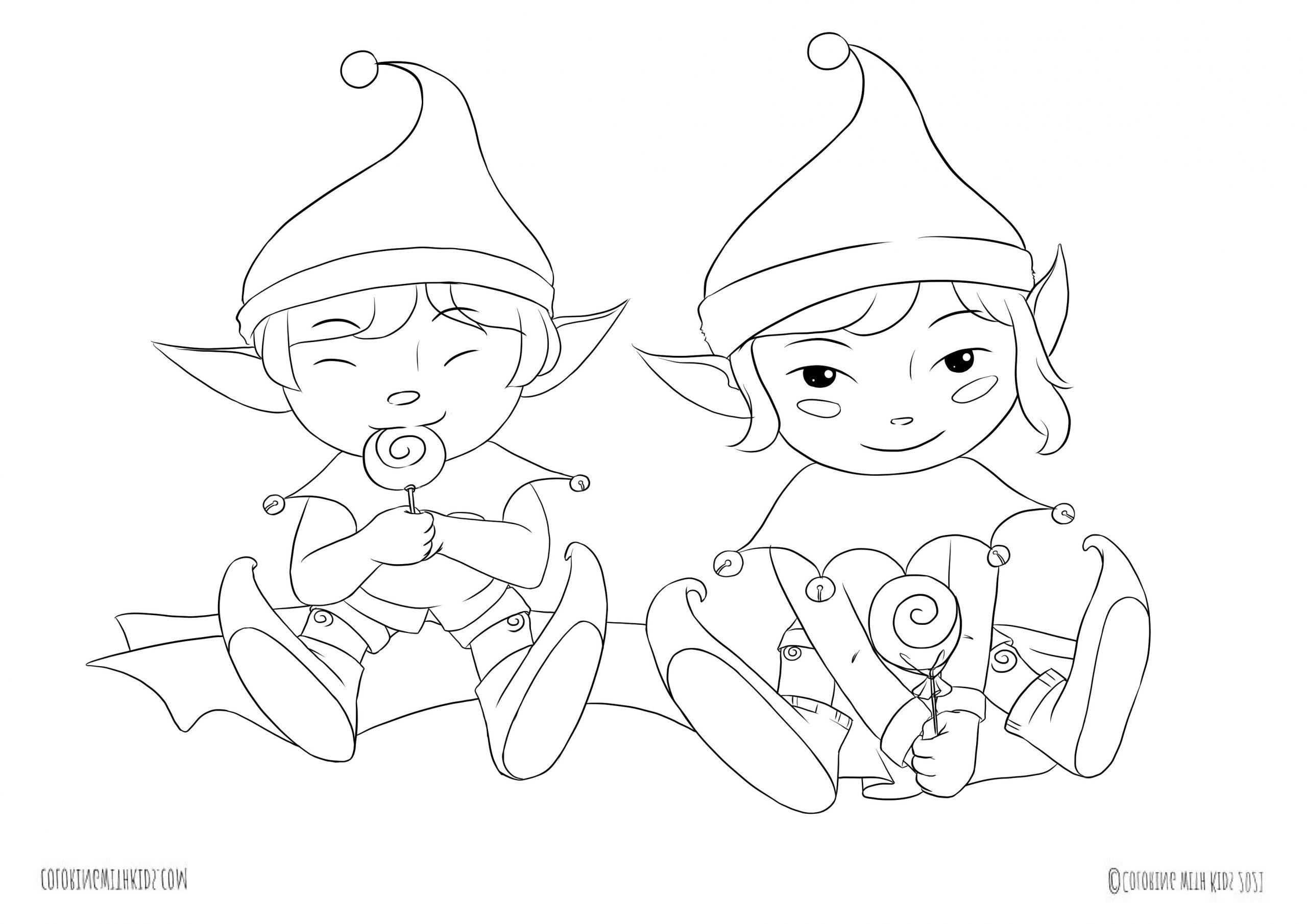 Kawaii Christmas Elves coloring page