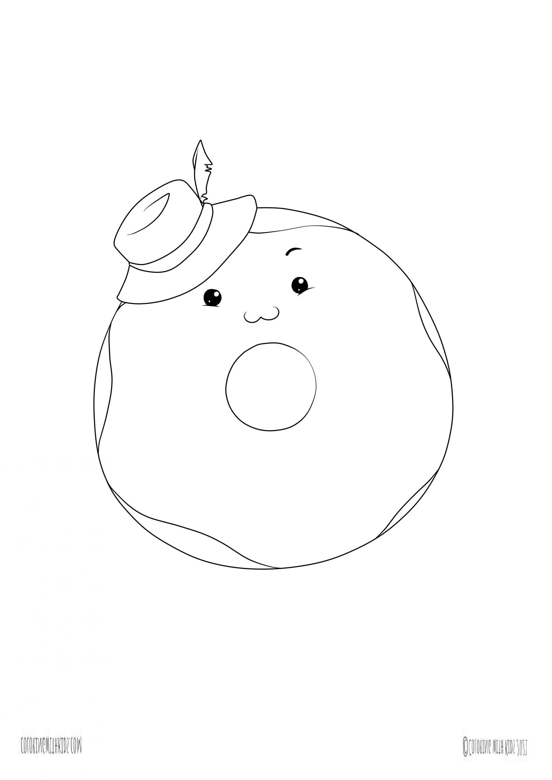 Kawaii Donut coloring page