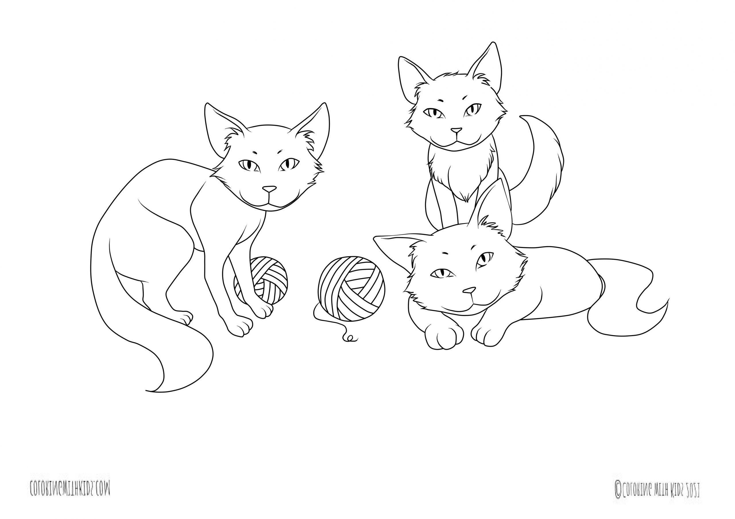 Kawaii cats coloring page