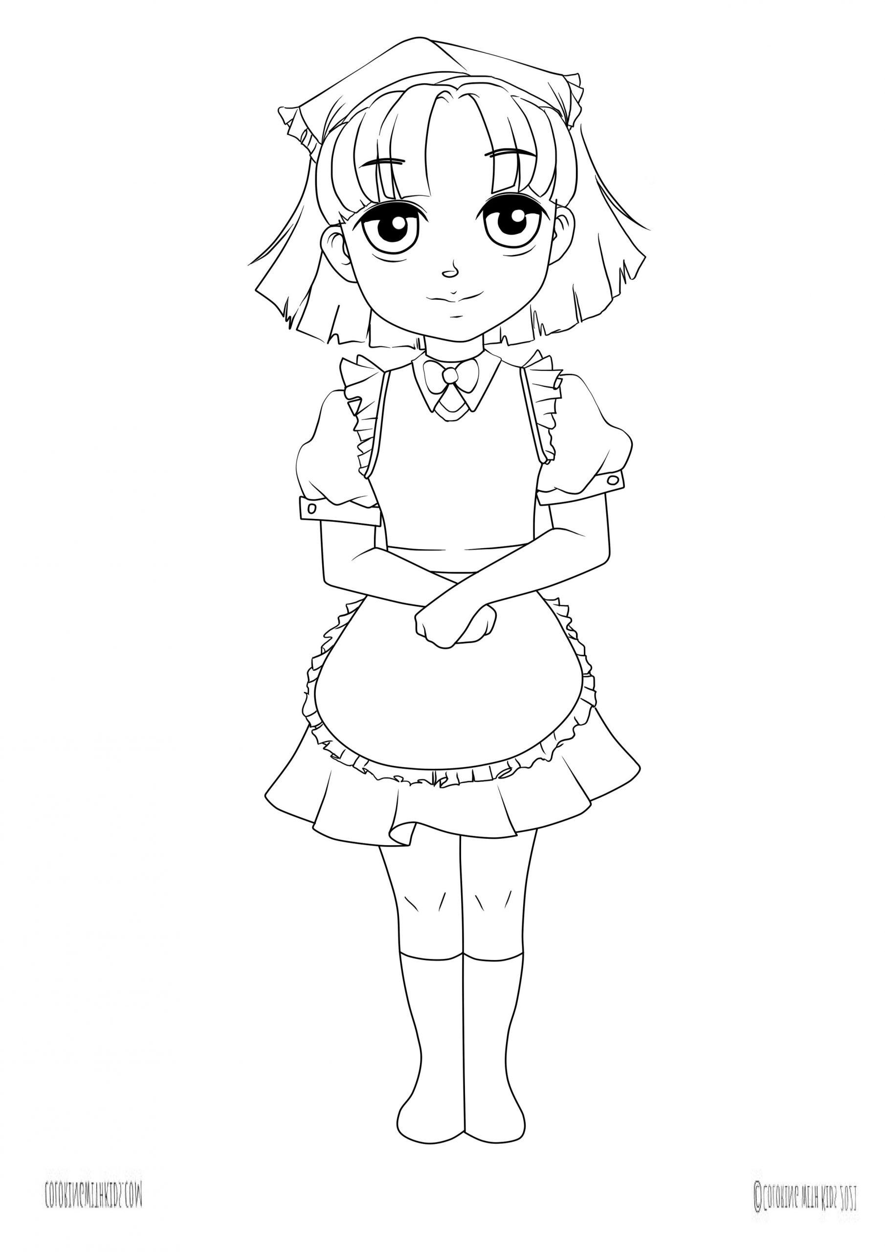 Kawaii chan coloring page