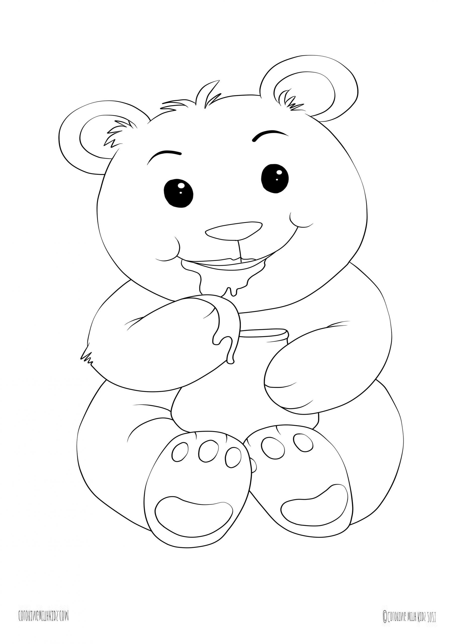 Kawaii bear coloring pictures