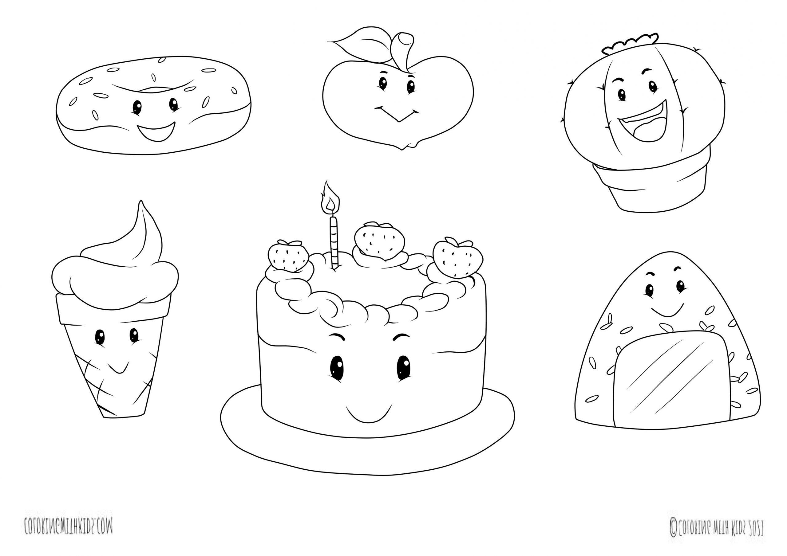 Kawaii Food Doodles coloring page