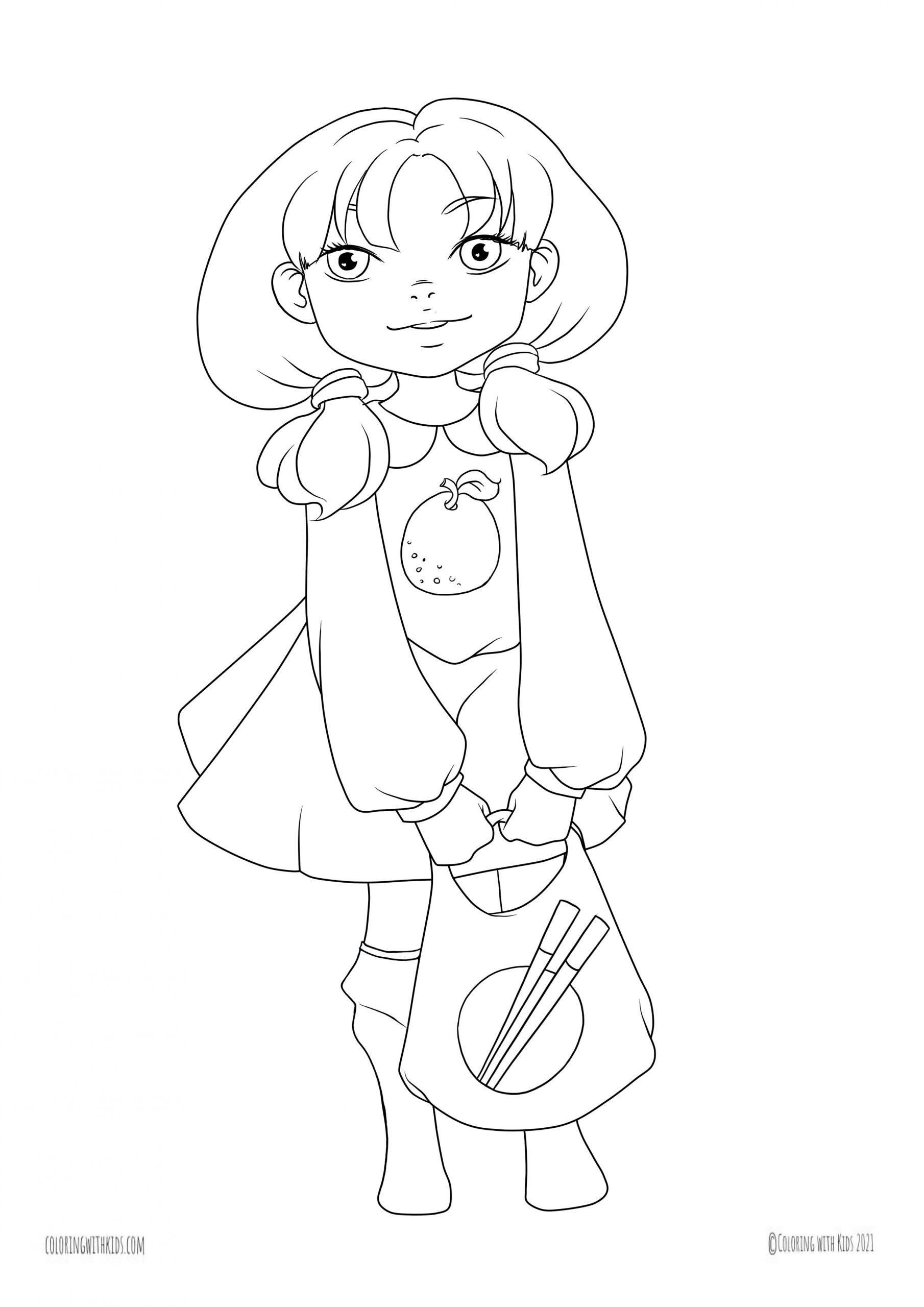 Kawaii girl Coloring Page