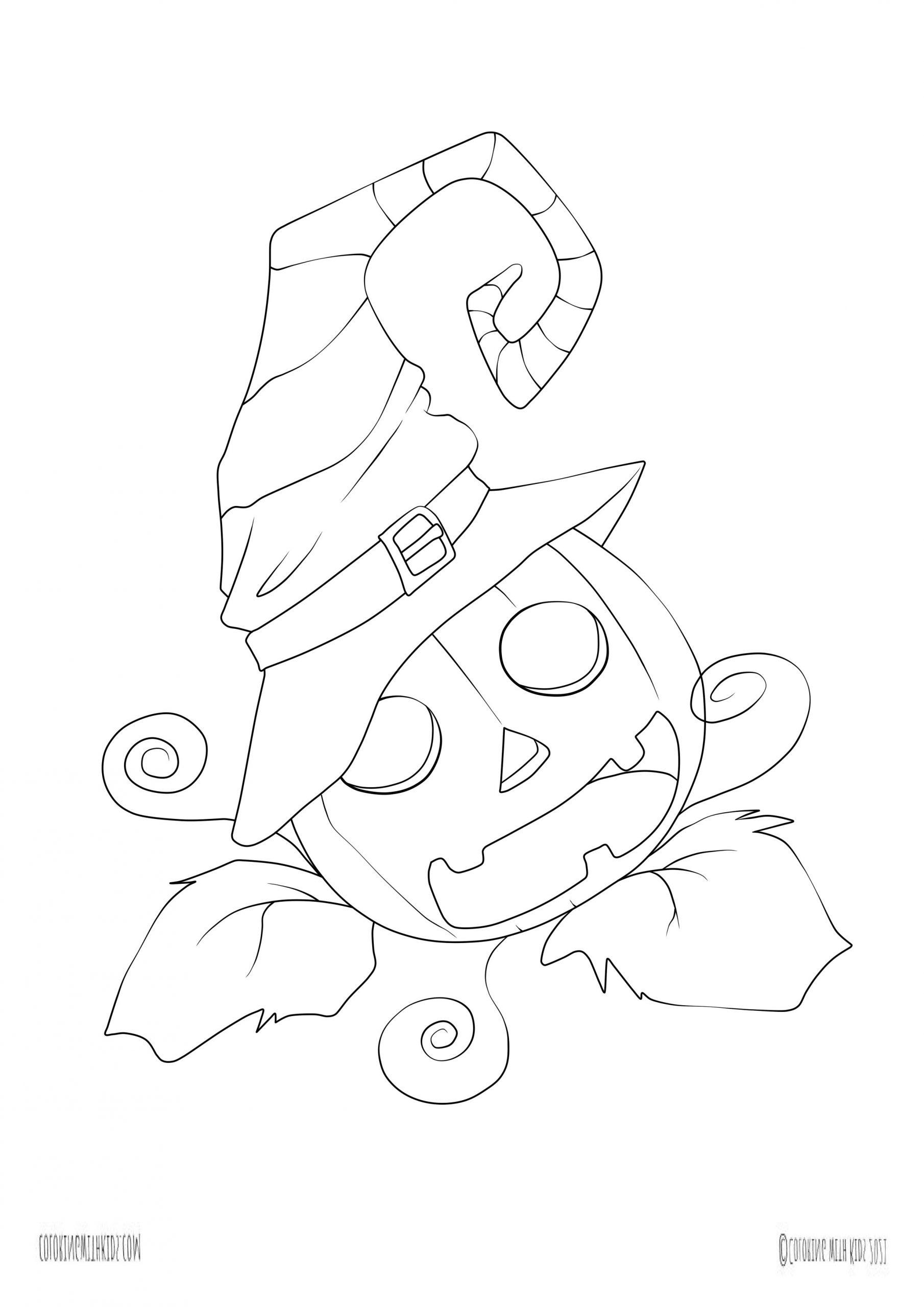 Kawaii halloween coloring page