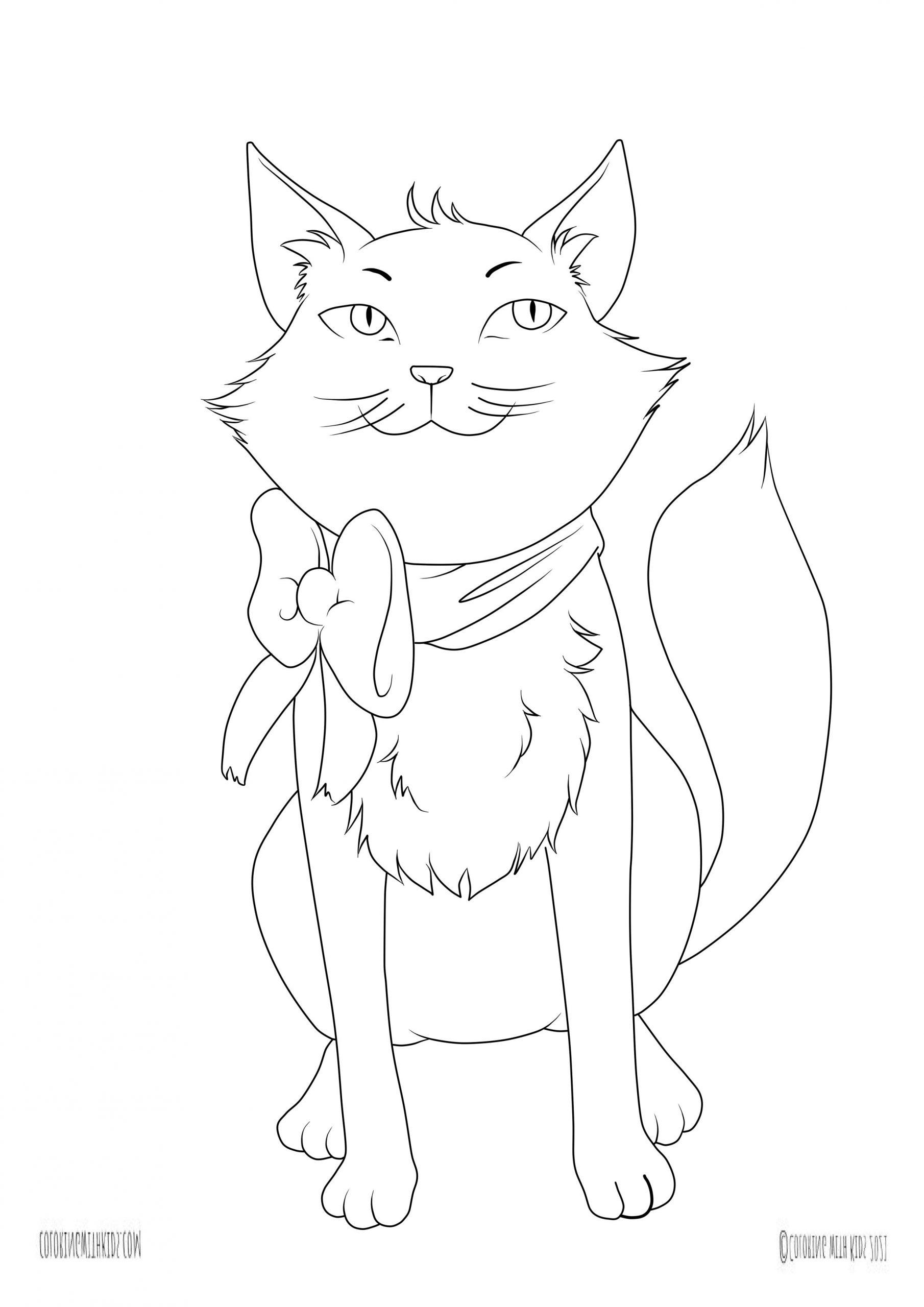 Kawaii kitten coloring pages