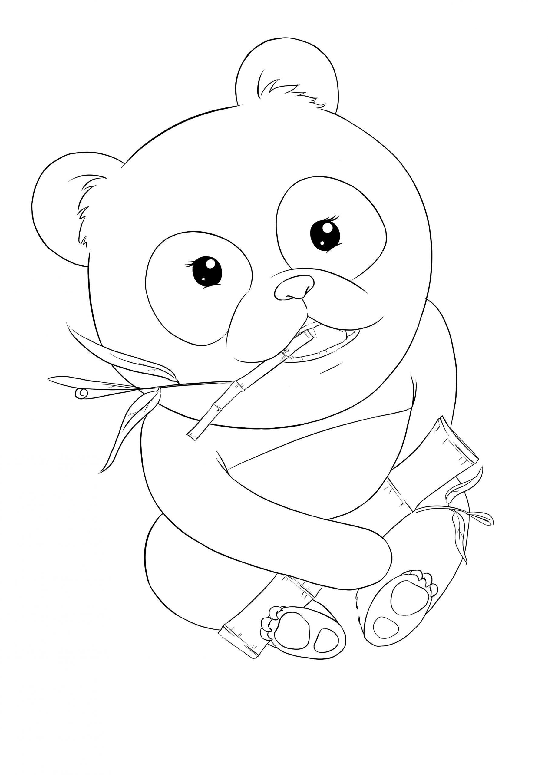 Kawaii panda coloring page