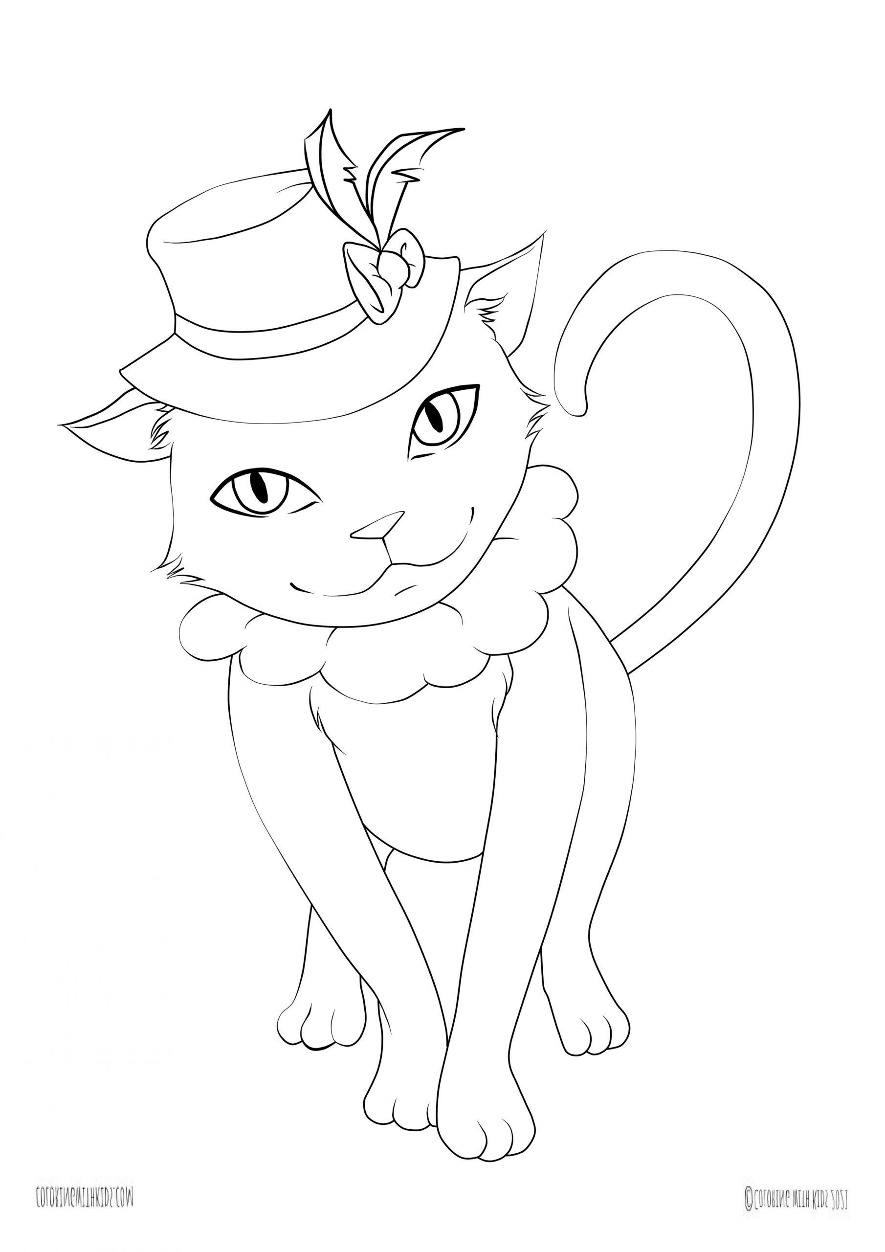 Kawaii printable coloring page cat