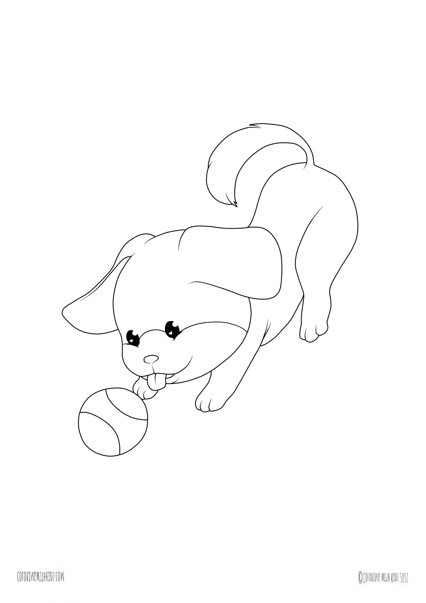 Kawaii puppy coloring page