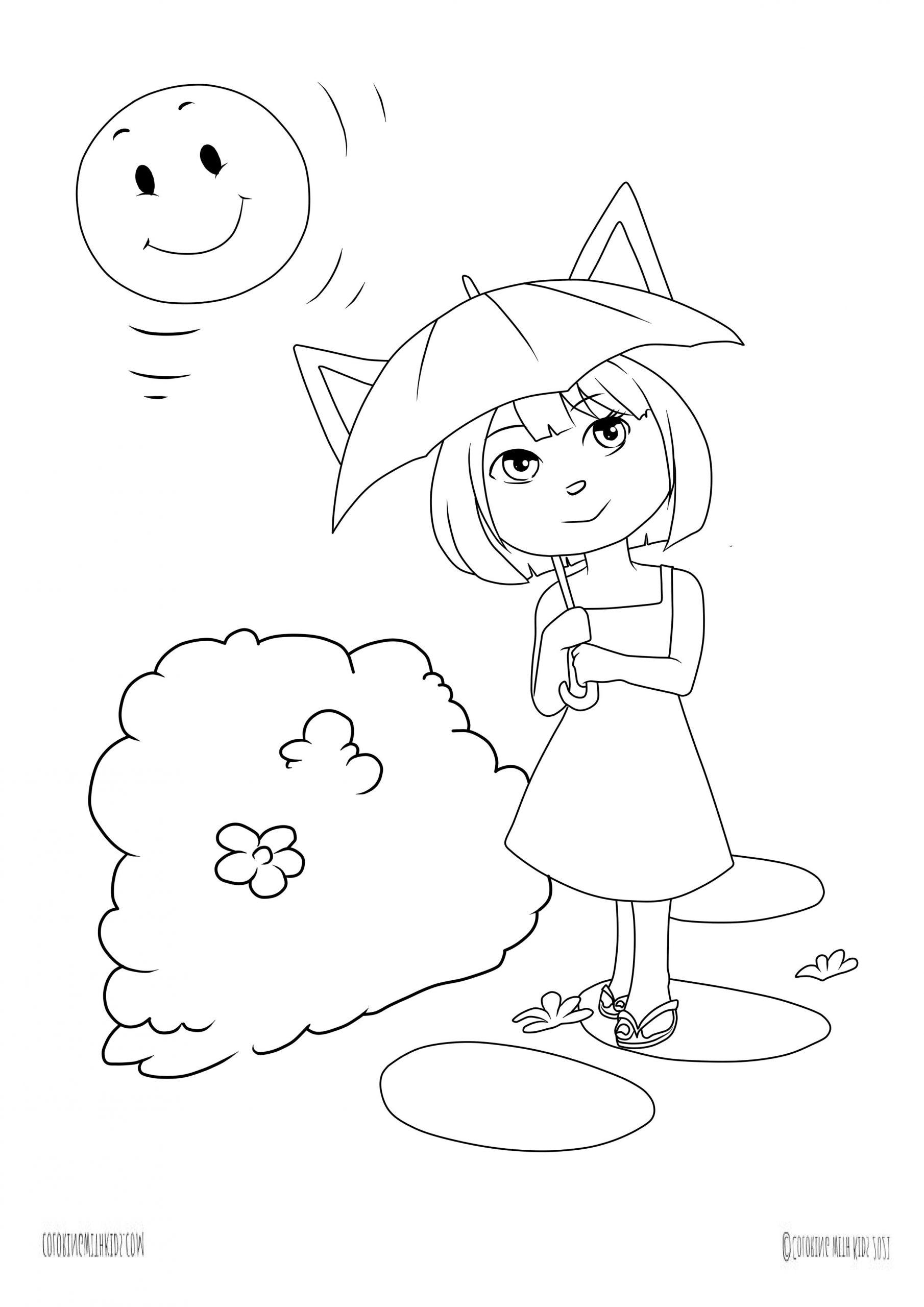 Kawaii summer coloring page