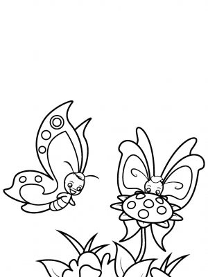 Two Butterflies with Flowers Coloring Page