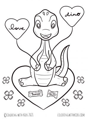 Valentine Dinosaur Coloring Page