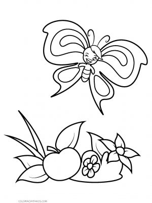 Winking Cartoon Butterfly Coloring Page