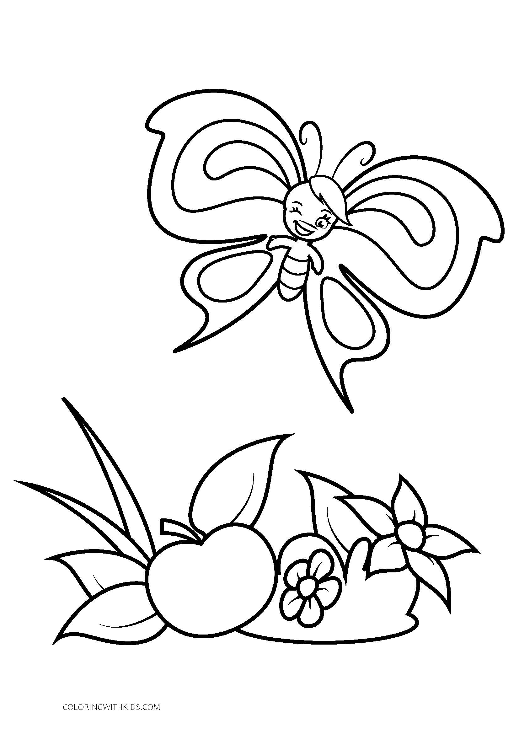 Winking cartoon butterfly flying over fruit coloring page