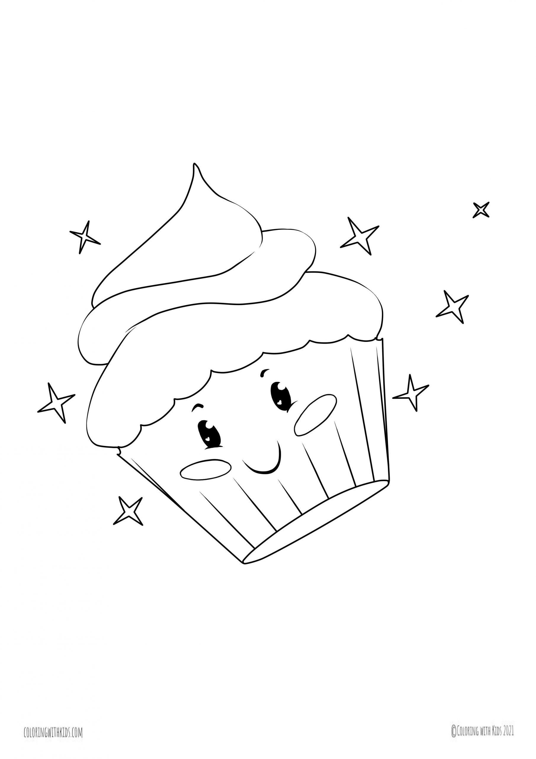 kawaii Cupcake coloring page