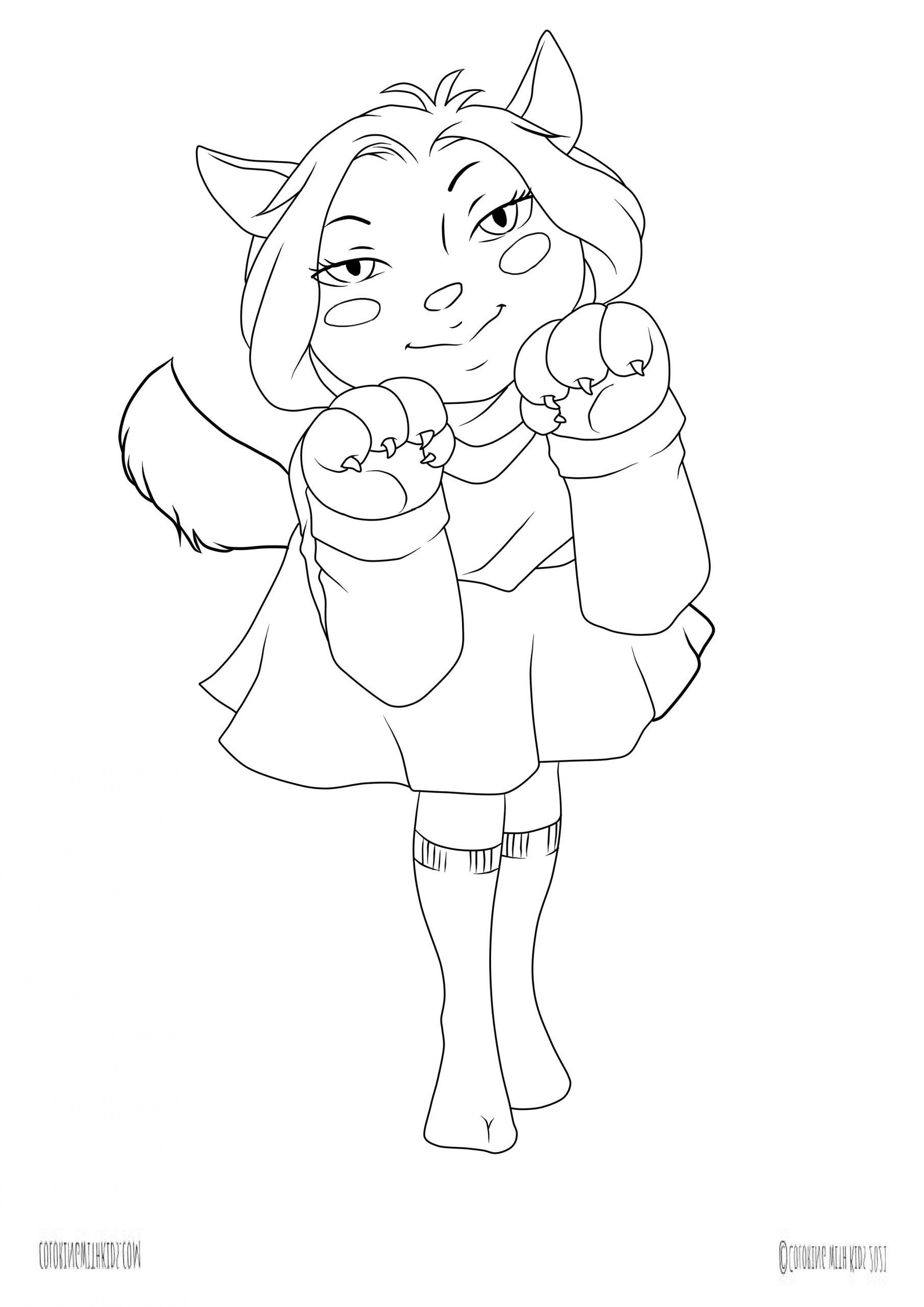 kawaii cat girl coloring page