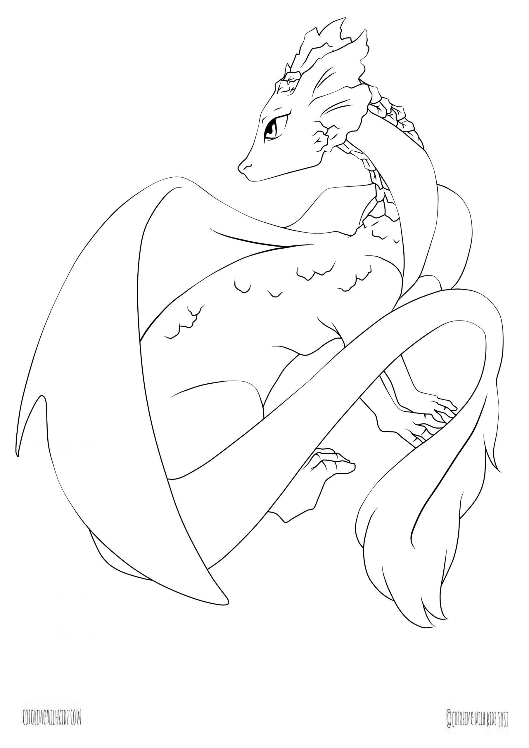 kawaii dragon coloring page