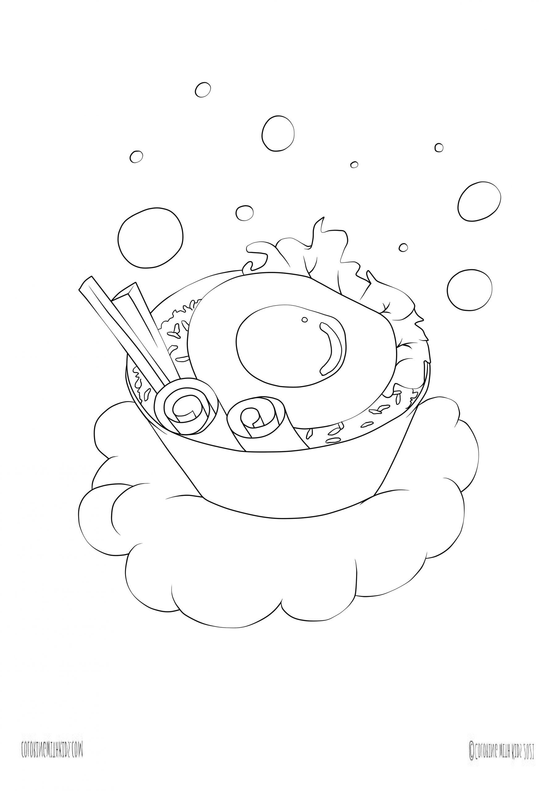 kawaii food coloring page