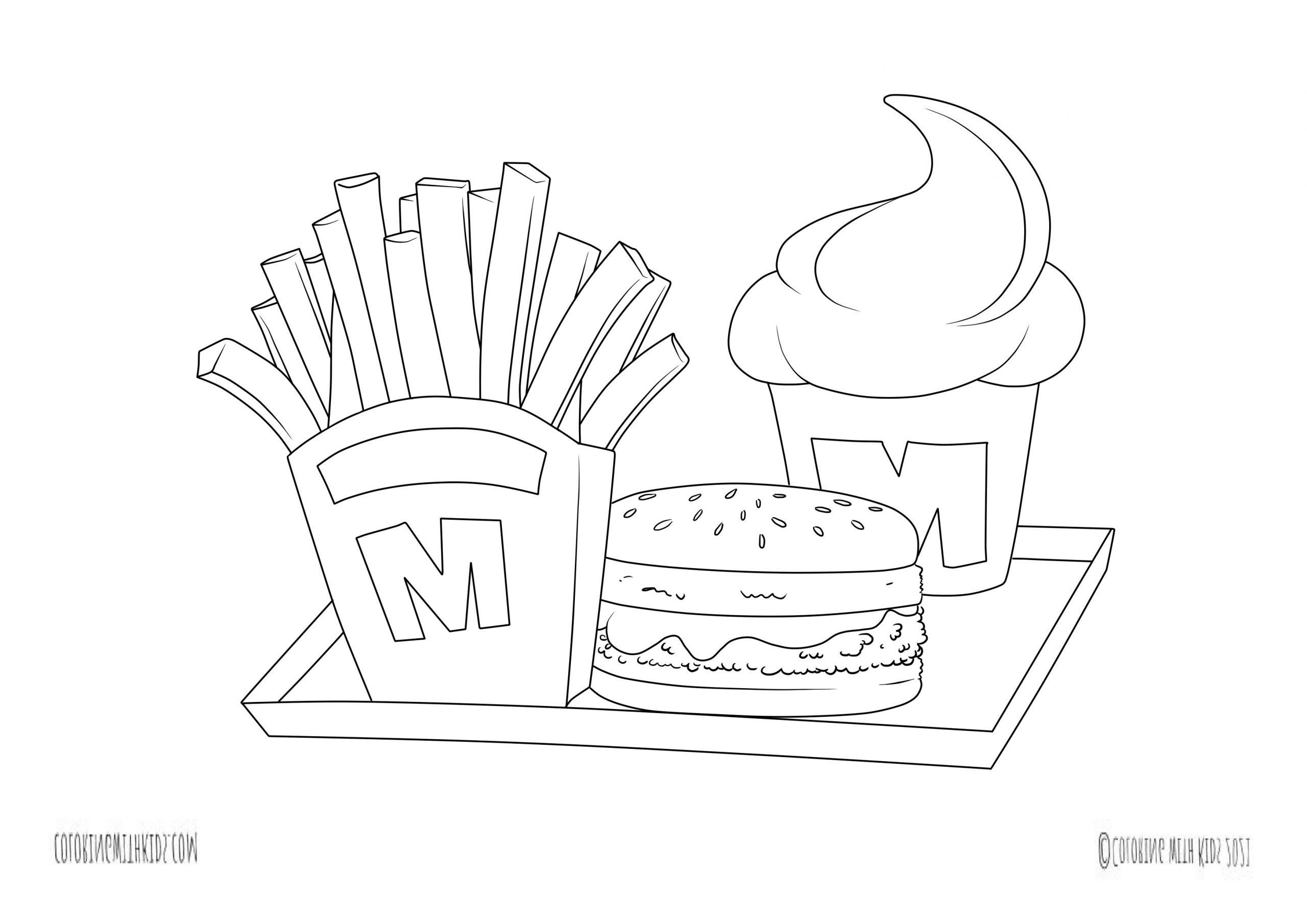 kawaii fast food coloring sheets