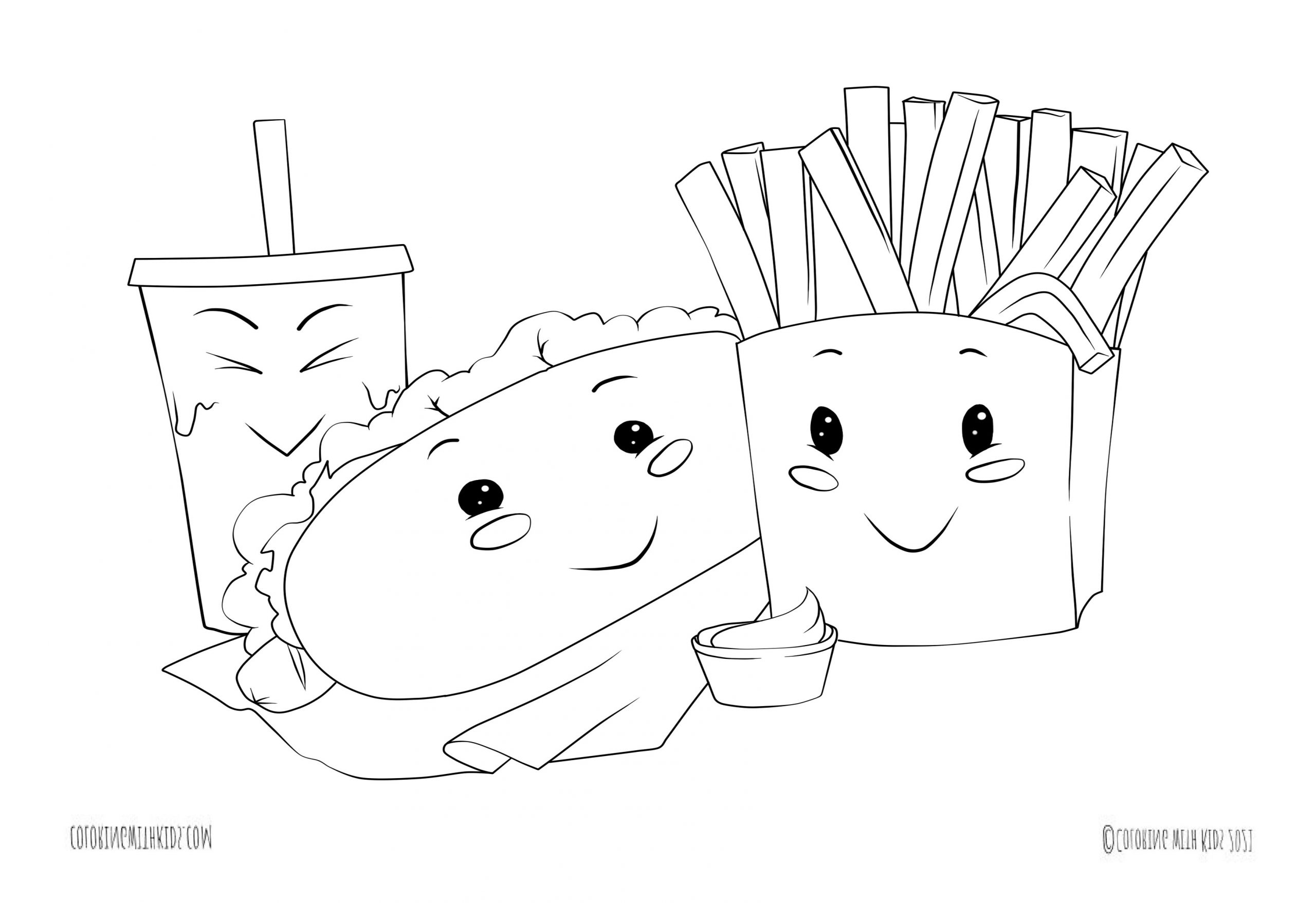 kawaii food with faces coloring page