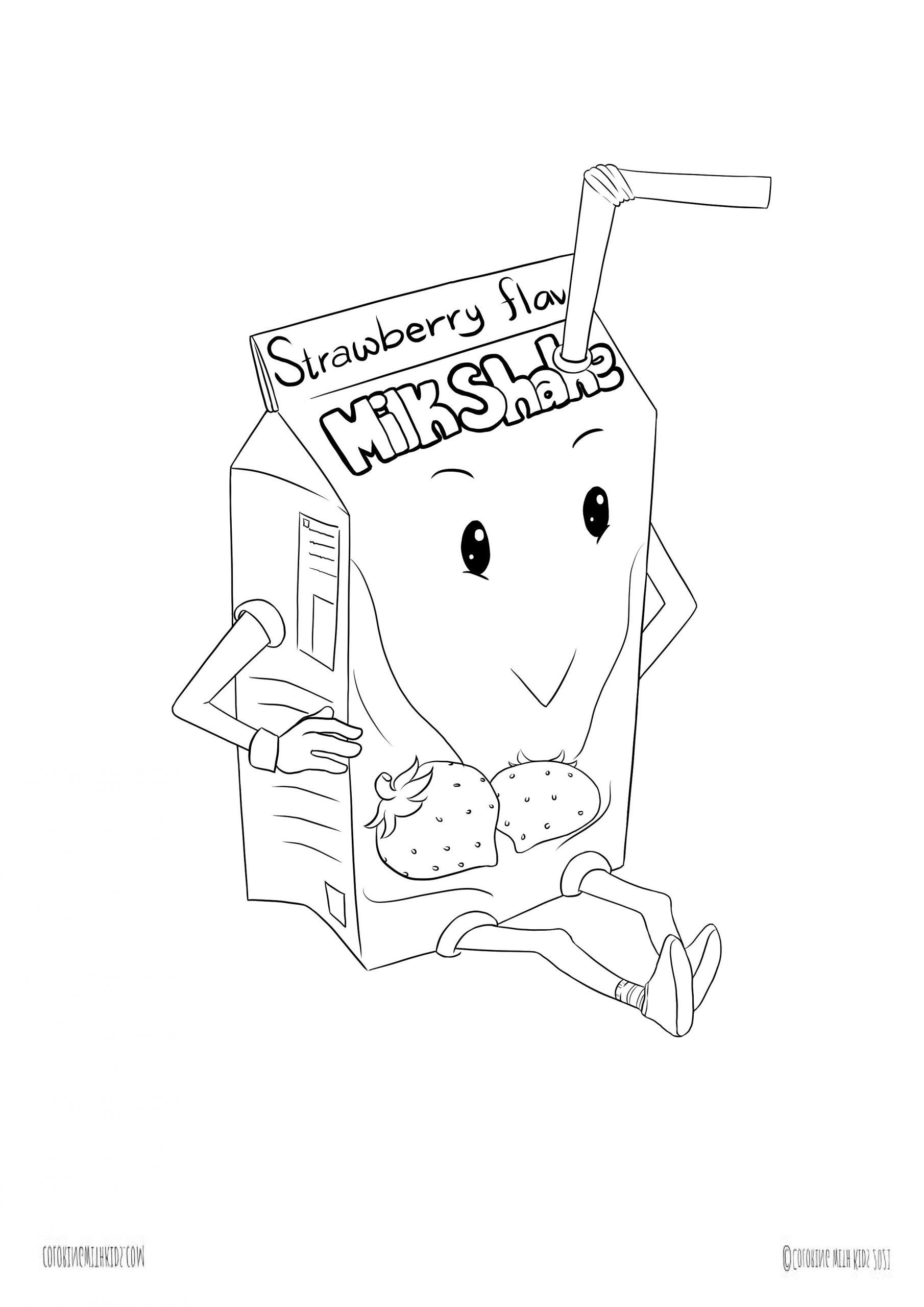 kawaii milkshake coloring page