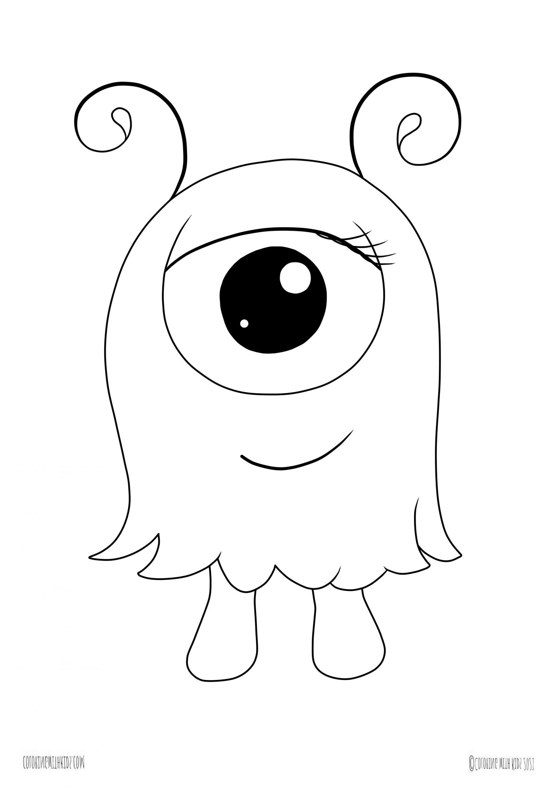 kawaii monster coloring page