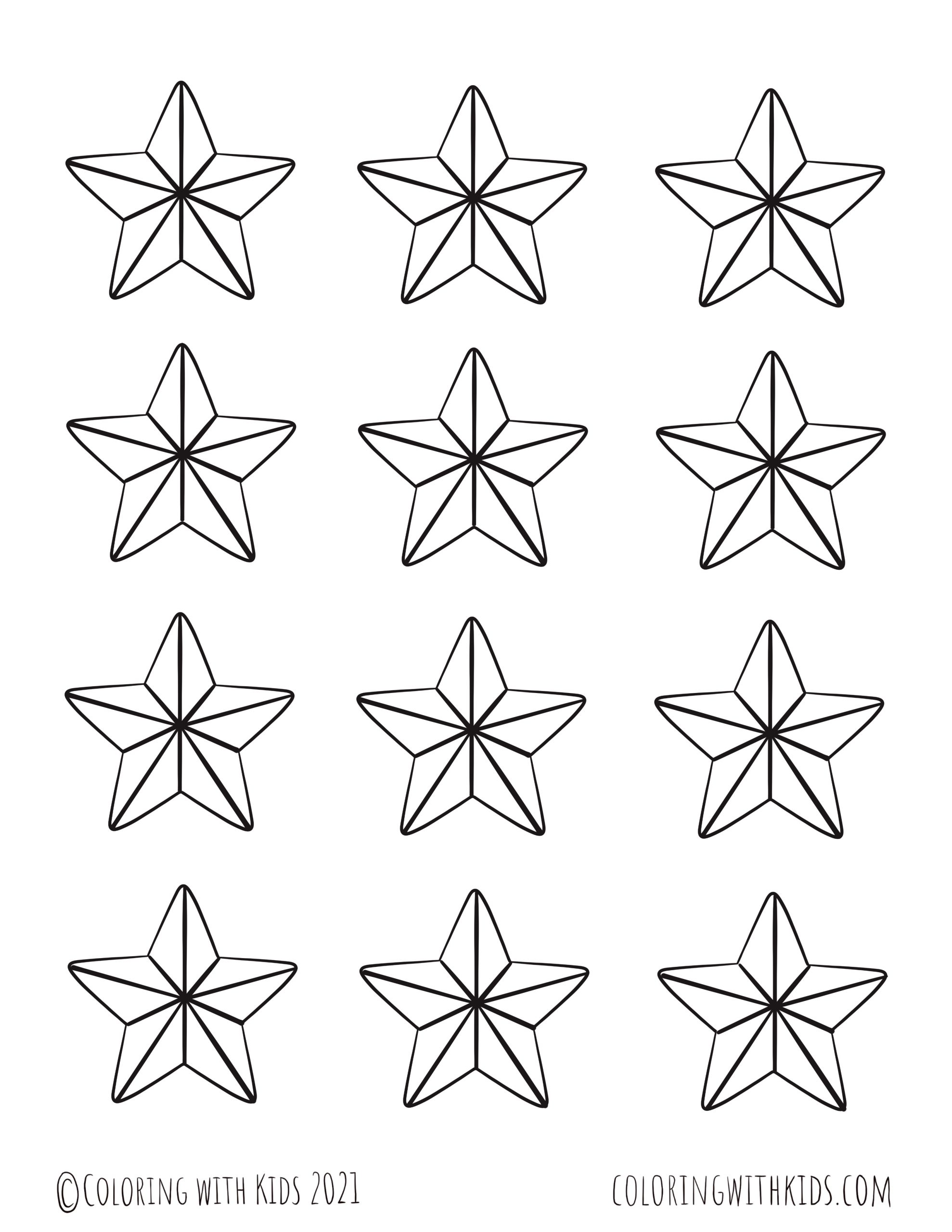 2 Inch Stars Coloring Page