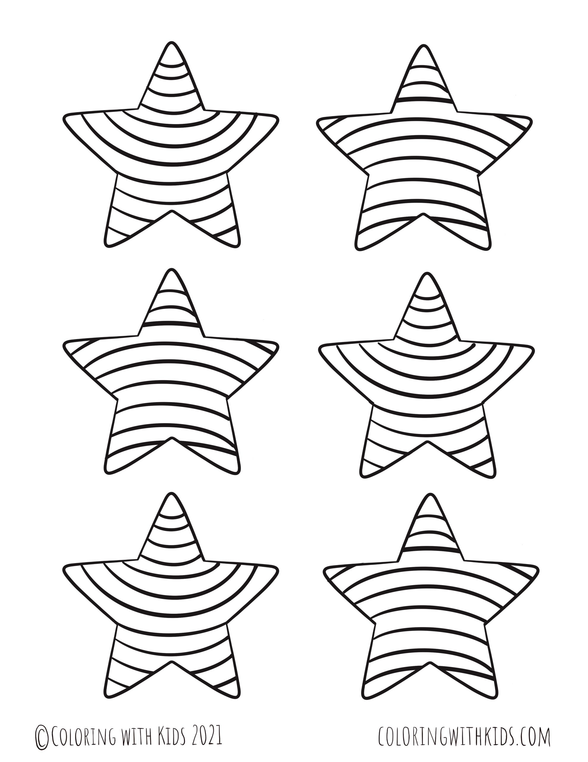 3 Inch Stars Coloring Page