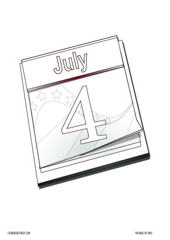 4th of July Calendar Coloring page