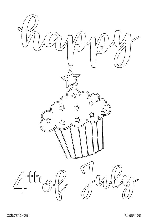 4th of July Cupcake coloring page