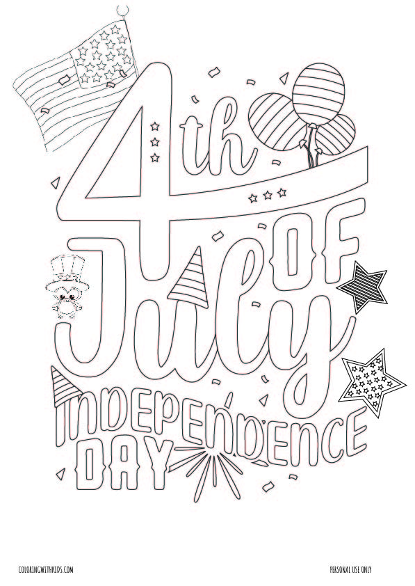 4th of July Independence day coloring page