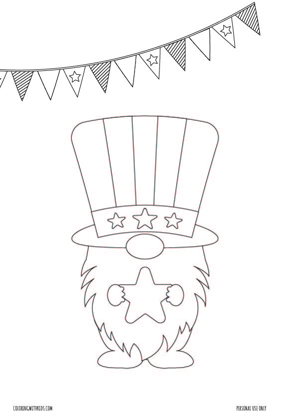 4th of july gnome coloring page