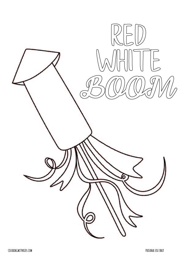 4th of july_Red, White, Boom Firecracker coloring page