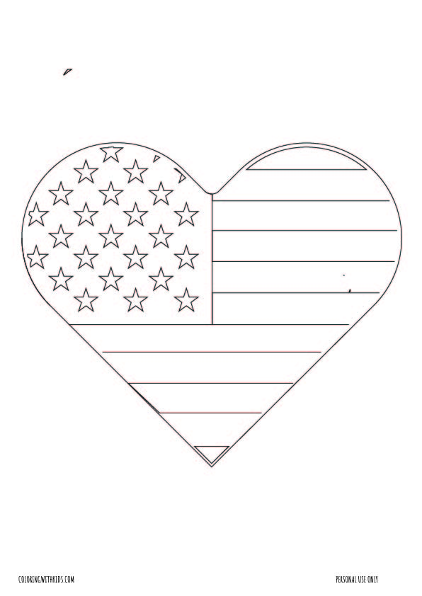 usa Flag Heart Coloring page
