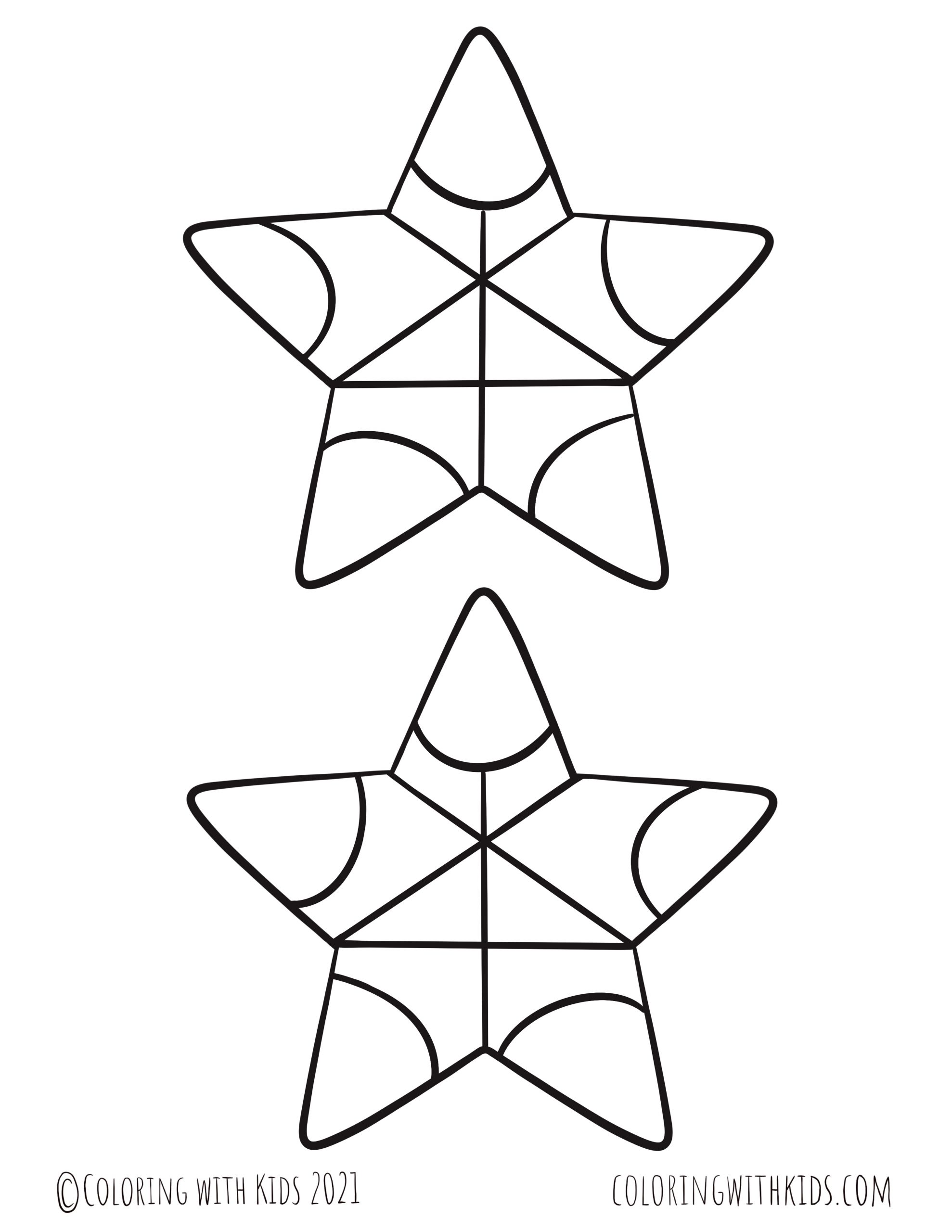 5 Inch Stars Coloring Page